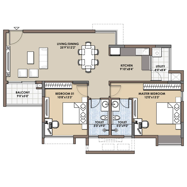 2 bhk 3 bhk flats floor plans fortius infra bangalore for 2 bhk flat design plans