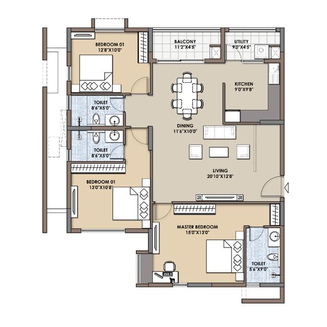 2 Bhk 3 Bhk Flats Floor Plans Fortius Infra Bangalore